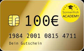 Persönlicher Gutschein 100 Euro – Sonnenfroh Werbeagentur
