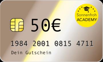Persönlicher Gutschein 50 Euro – Sonnenfroh Werbeagentur