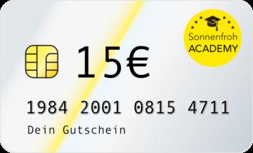 Persönlicher Gutschein 15 Euro – Sonnenfroh Werbeagentur
